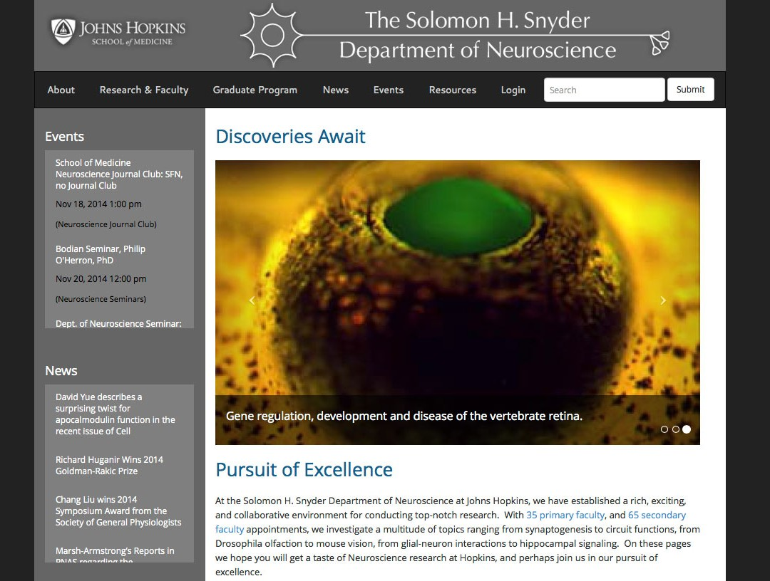 Neuroscience Department – Johns Hopkins Site Launch